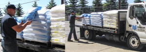 Hand unload commercial water softener salt delivery