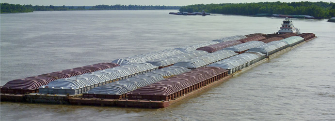 Barge of bulk rock salt