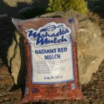 Dyed red mulch bags