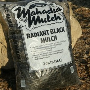 dyed black mulch bagged