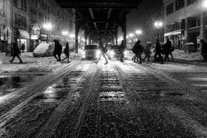snow on the walkways