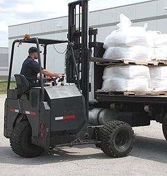 Fork lift water softener salt delivery in Chicago