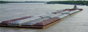 Barge of bulk rock salt